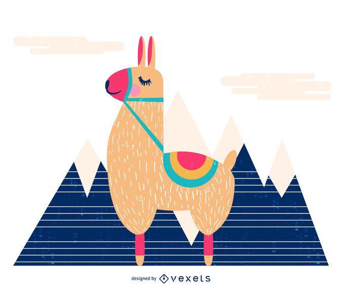 Lama in der Bergillustration