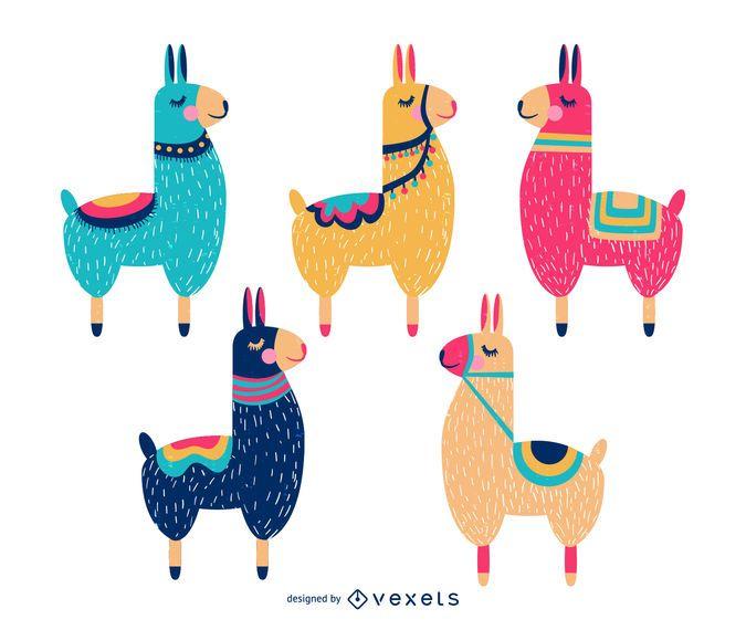 Süße Lama-Cartoon-Sammlung