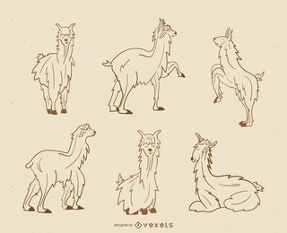 Llama stroke illustration collection