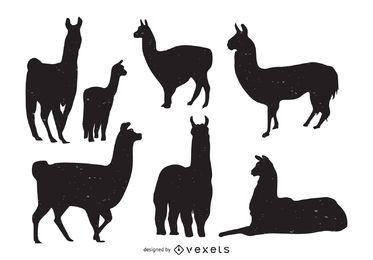Colección de siluetas de animales de llama.