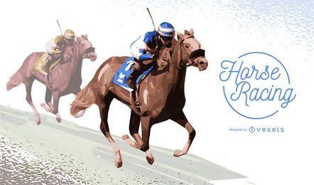 Pferderennenabbildung mit zwei Jockeys
