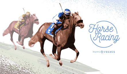 Two jockeys horse racing illustration
