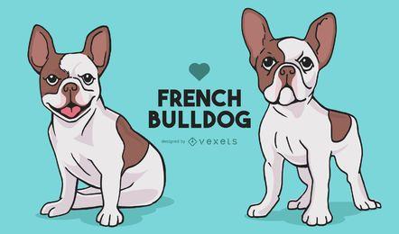 Dibujos animados de perros de bulldog francés