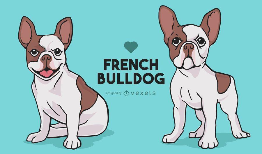 Desenhos animados de cães de buldogue francês