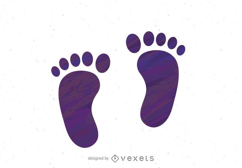 Purple footsteps print