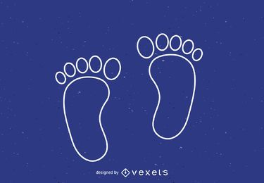 Human footsteps outline icon
