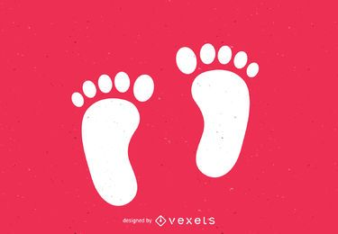 Pies descalzos huellas silueta impresa