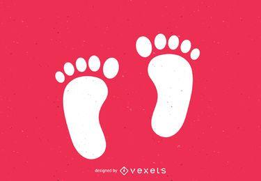 Pies desnudos, pasos, silueta, impresión