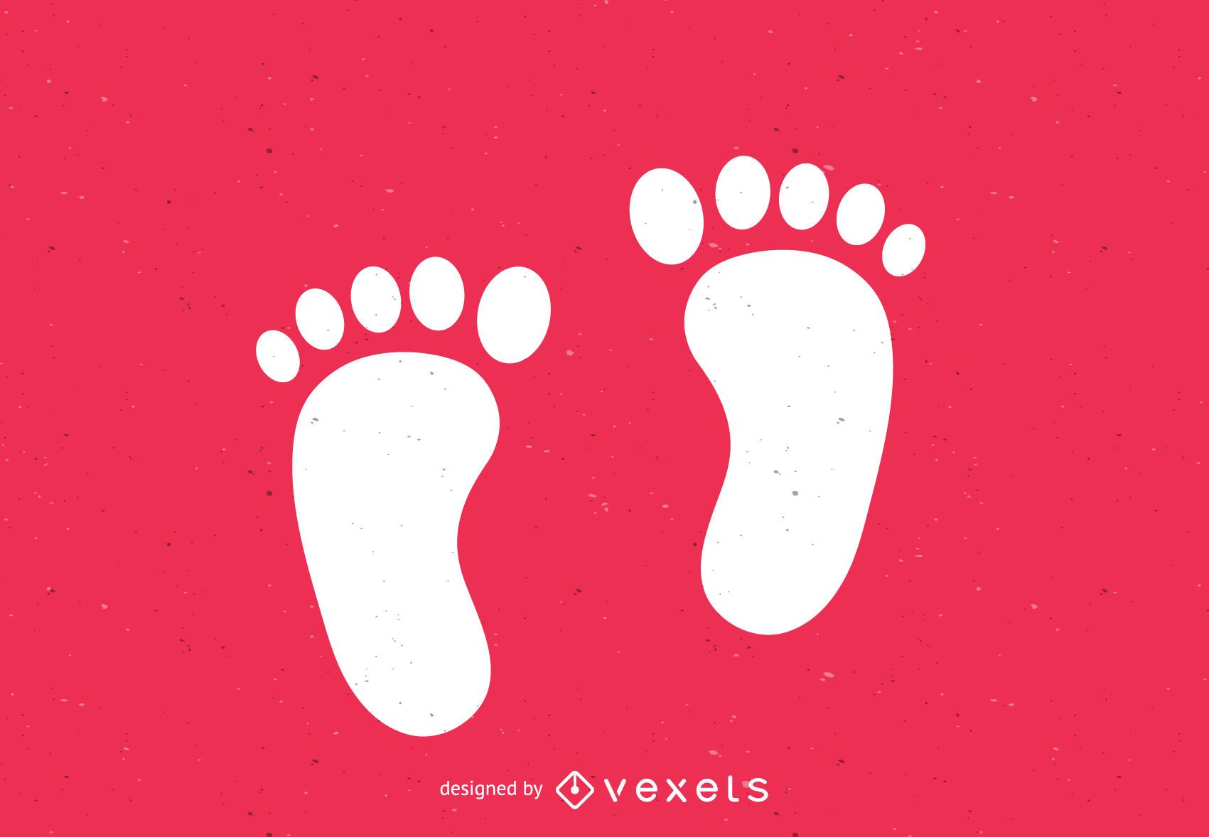 Bare feet footsteps silhouette print