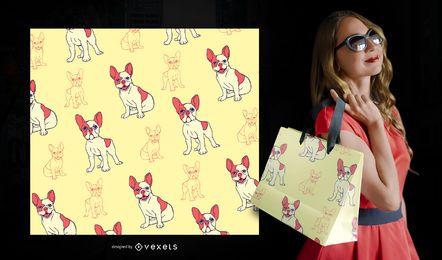 Bulldog francés de dibujos animados de patrones sin fisuras