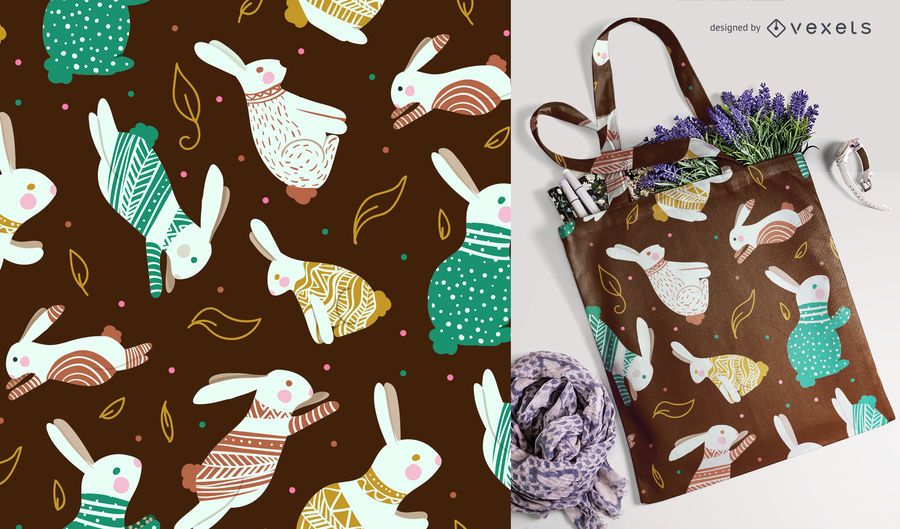 Sem costura padrão colorido de coelho de Páscoa