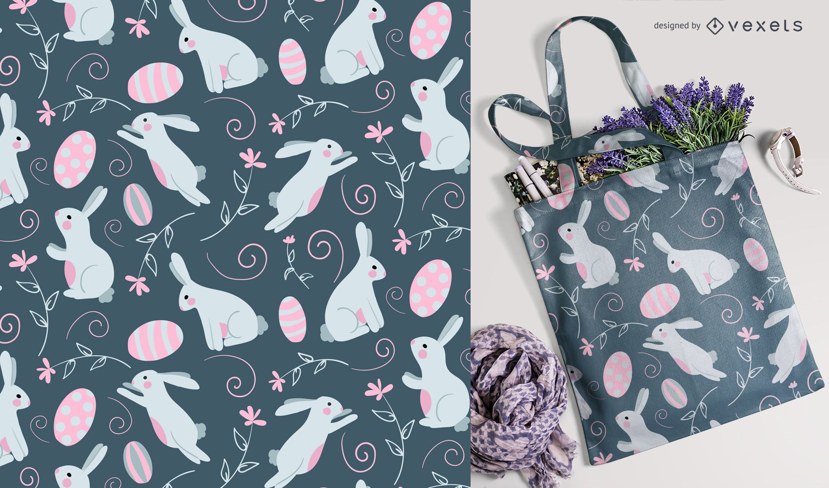 Easter rabbit and eggs pattern
