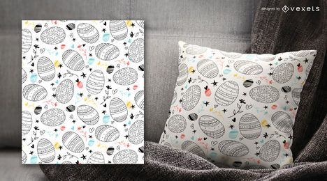 Trazo decorado patrón huevos de pascua