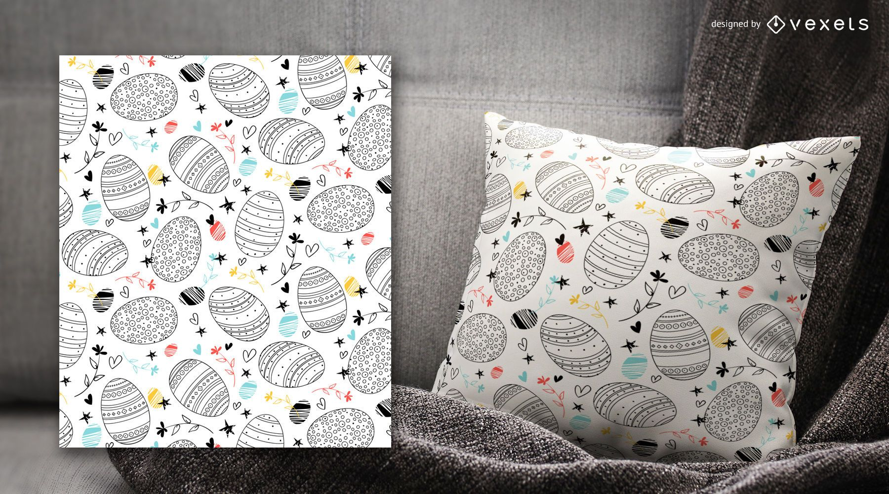 Trazo decorado patrón de huevos de Pascua - Descargar vector