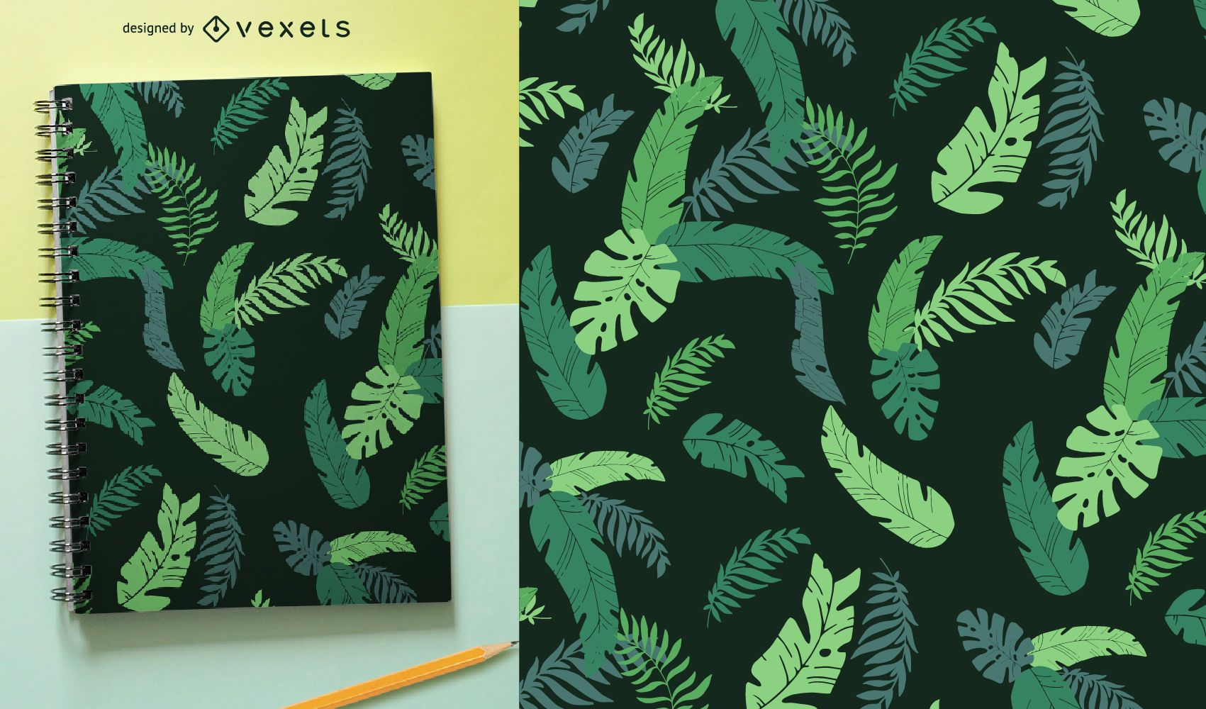 Green tropical leaves seamless pattern