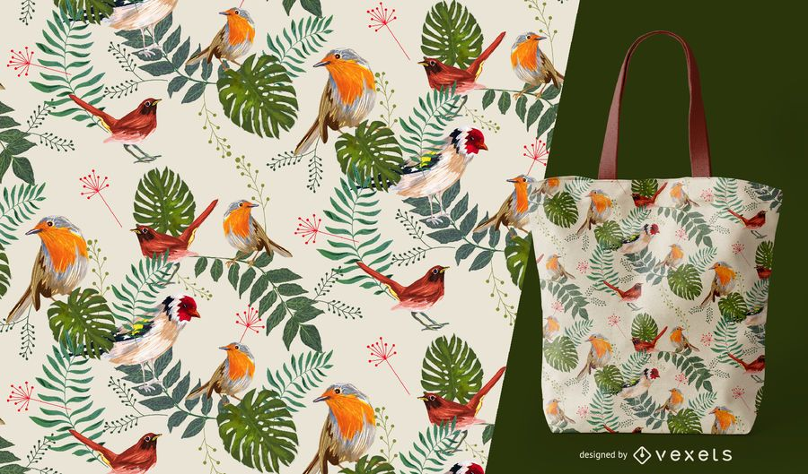 Tropical leaves and birds seamless pattern