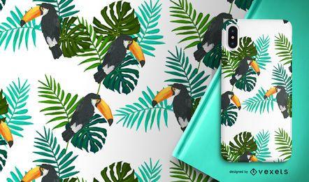 Tucán pájaro y hojas de patrones sin fisuras