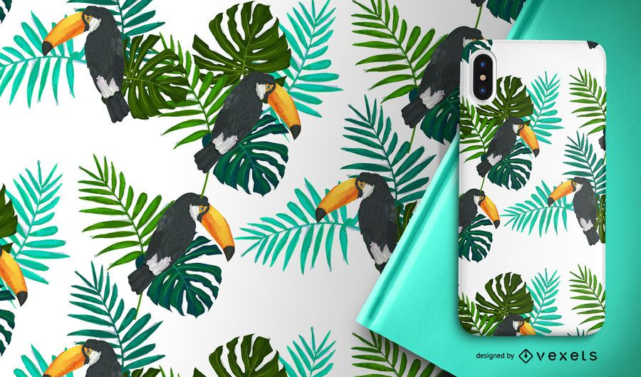 Toucan bird and leaves seamless pattern