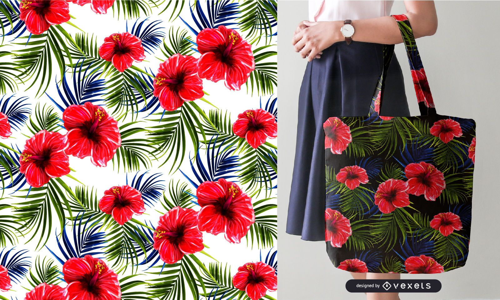 Tropical Flowers And Leaves Seamless Pattern Vector Download