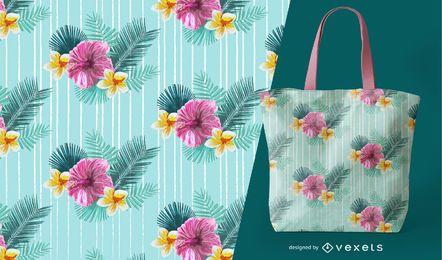 Patrón transparente tropical floral
