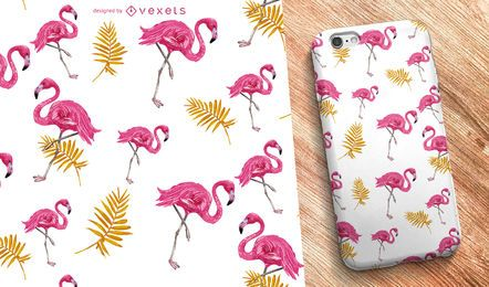 Flamingo nature seamless pattern