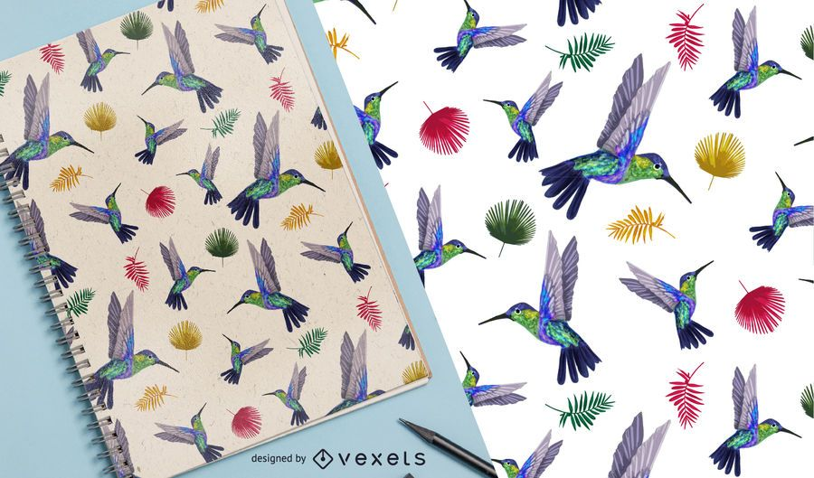 Exotic hummingbird seamless pattern