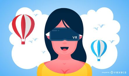 Flat augmented reality women illustration