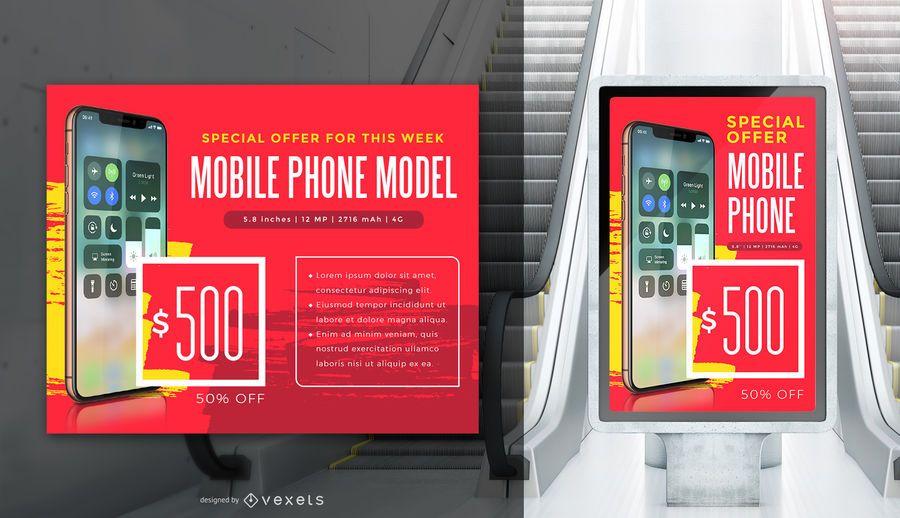 Plantilla de banner promocional de Iphone X