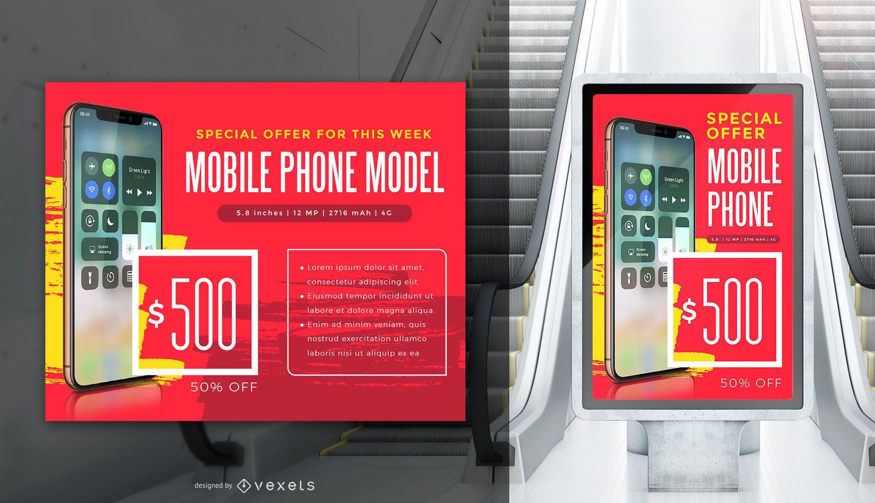 Werbe Iphone X Banner Vorlage