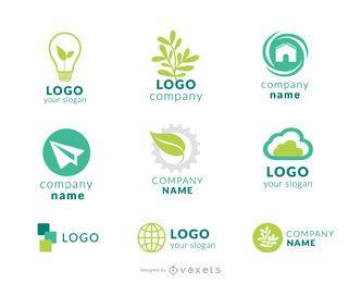 Conjunto de logo da empresa verde