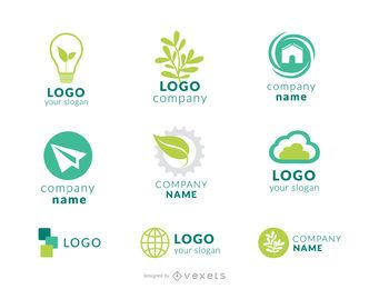 Conjunto de logotipo verde da empresa