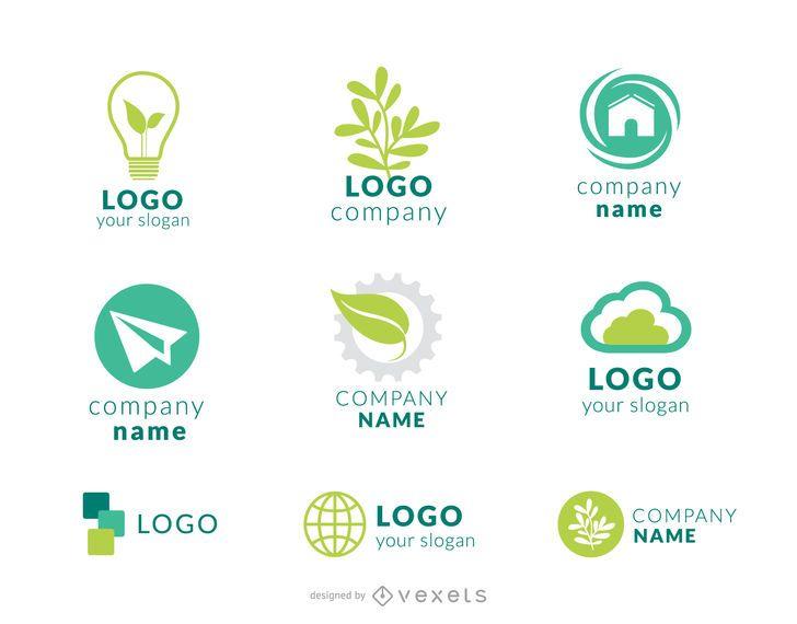Green company logo set