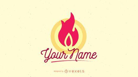 Plantilla de logotipo de empresa de llama de fuego