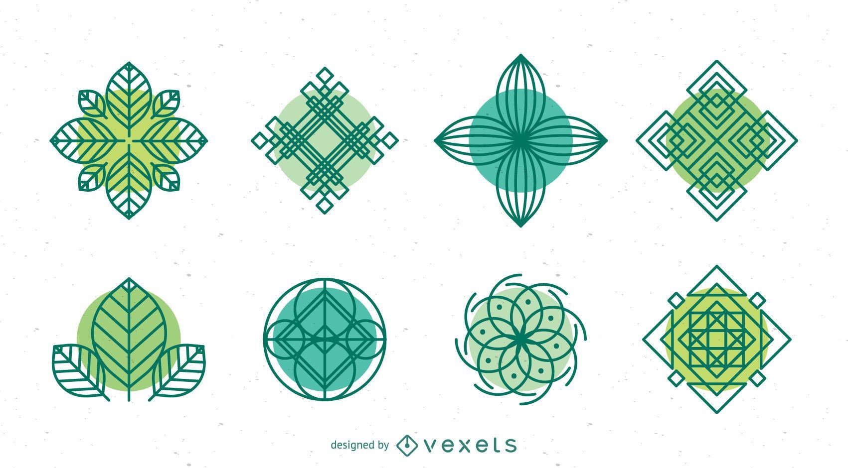 Colección de plantillas de logotipos de la naturaleza