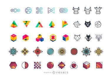 Coleção de elementos de logotipo abstratos