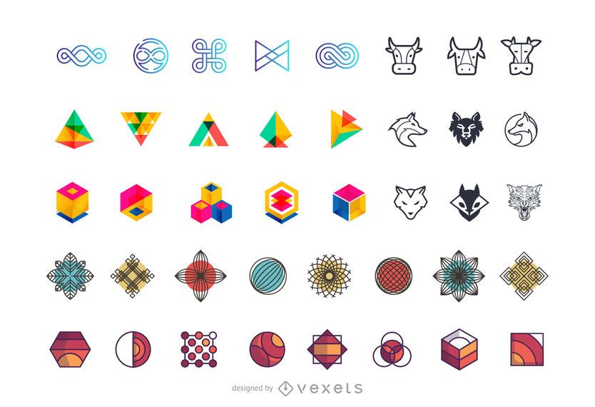 Coleção de elementos abstratos logotipo