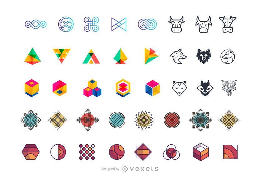 Sammlung abstrakter Logoelemente