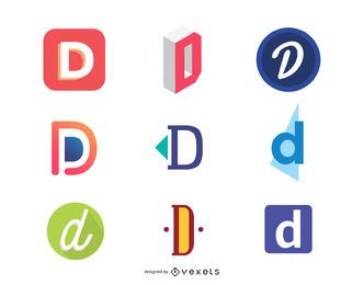 D letter logo template collection