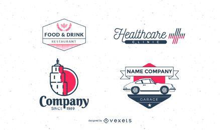 Pacote de coleção de logotipo vintage