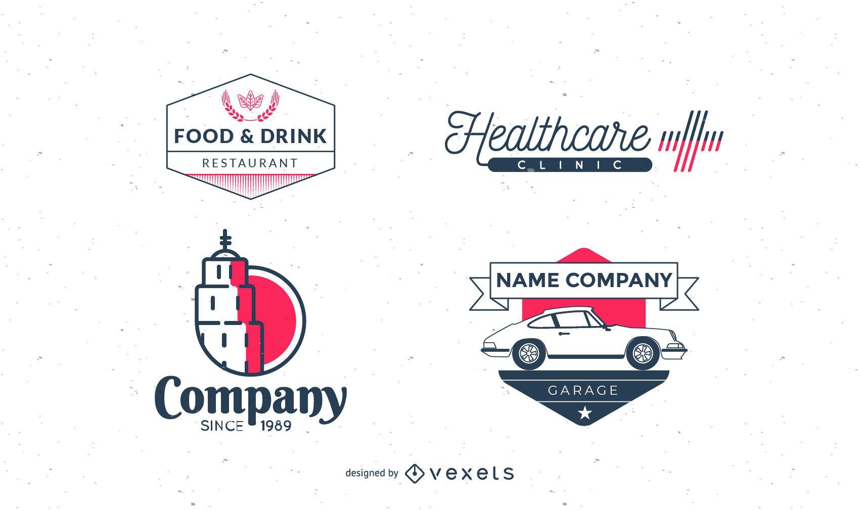 Vintage logo collection pack