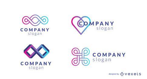 Diseño de logotipo de empresa gradiente conjunto