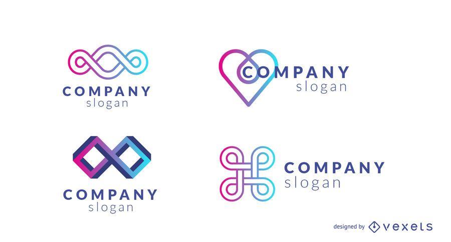 Conjunto de logotipo de design de empresa gradiente
