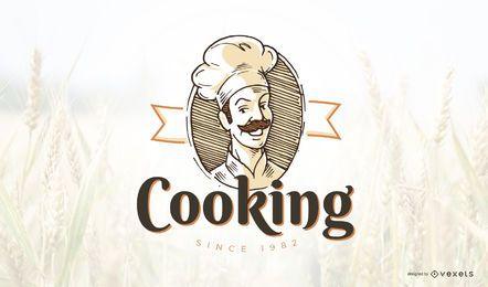 Modelo de logotipo de cozinha vintage