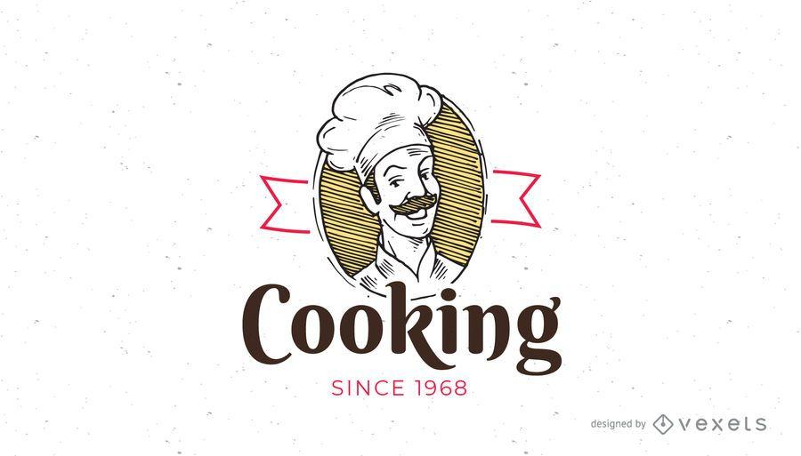 Plantilla de logotipo de cocina vintage