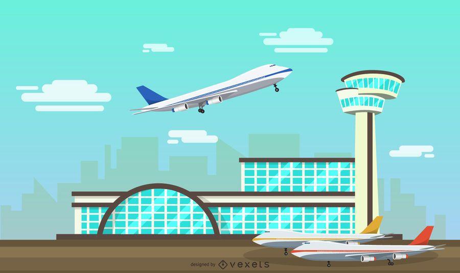 Ilustración de las instalaciones del aeropuerto plano
