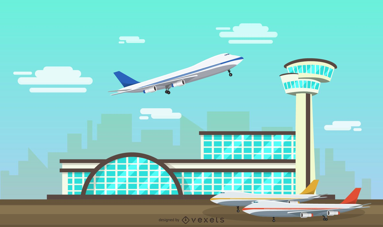 Flat airport facility illustration