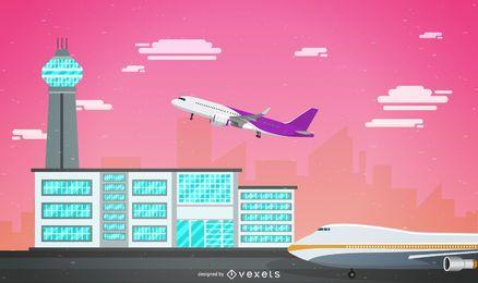 Ilustración de aeropuerto de cielo rosa