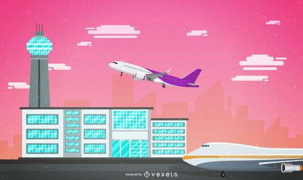 Pink sky airport illustration