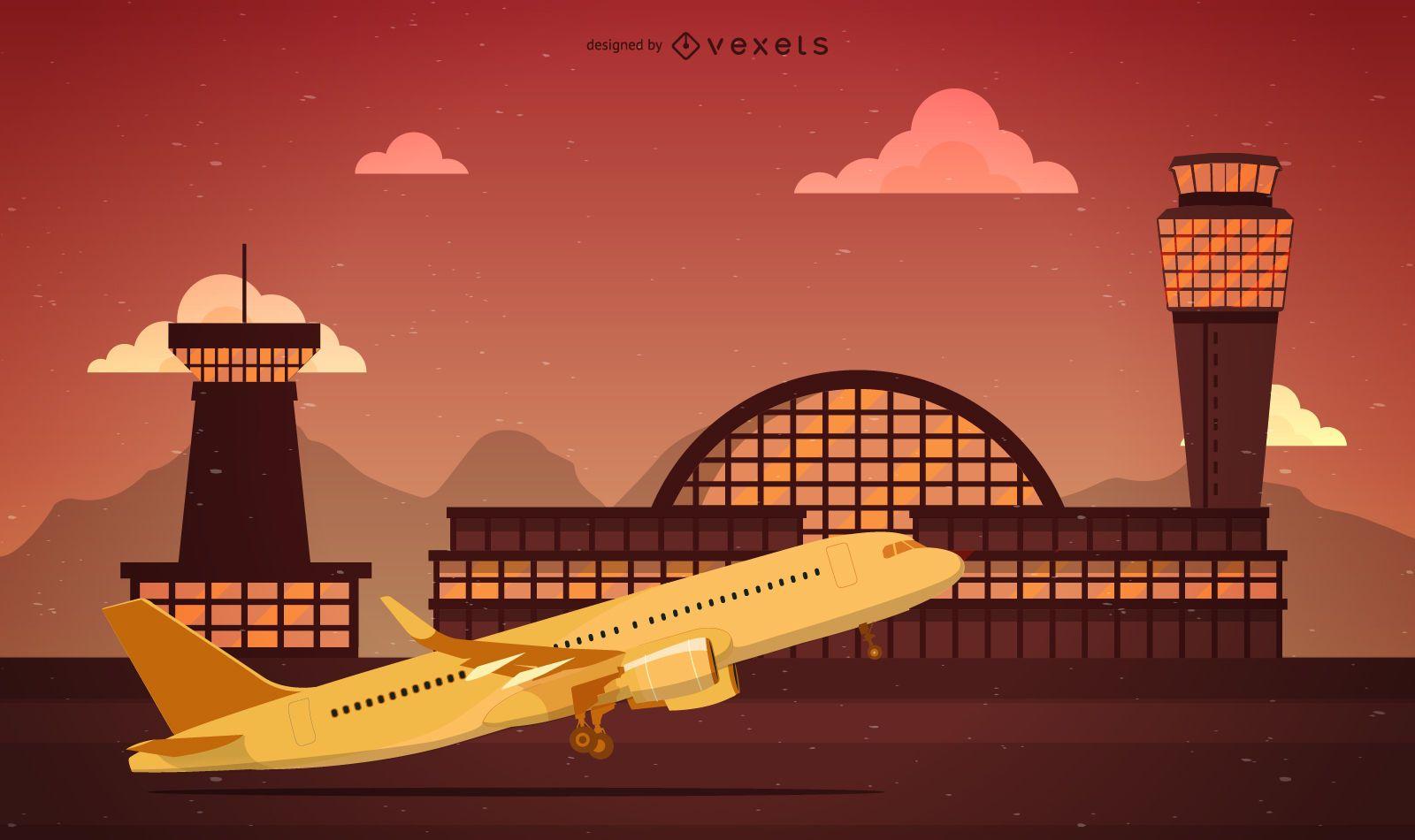 Ilustración del aeropuerto sobre una puesta de sol