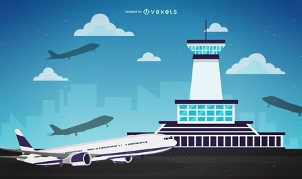 Airport traffic control illustration